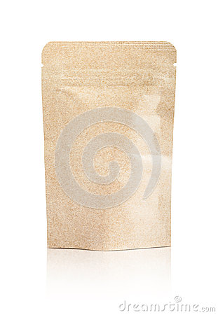 Free Blank Packaging Recycled Kraft Paper Pouch Isolated On White Stock Photos - 71084873