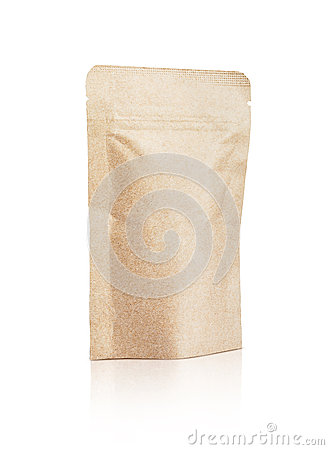Free Blank Packaging Recycled Kraft Paper Pouch Isolated On White Royalty Free Stock Photos - 71085418