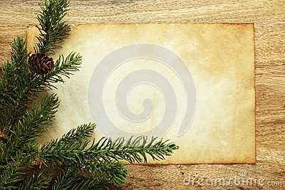 Blank paper and Christmas decorations