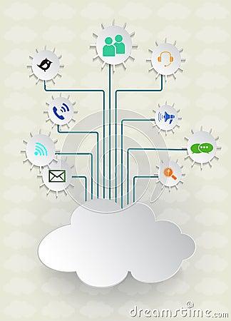 Blank paper cloud computing.Social networks.