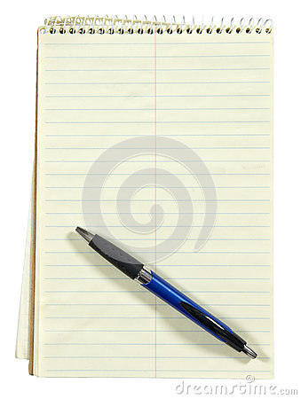 Blank Paper Note Pad and Pen, isolated on White