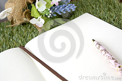 Blank paper page with pen
