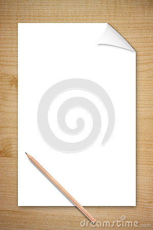 Blank Paper and Pencil On Wooden Table