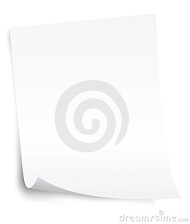 Blank paper sheet with curl corner