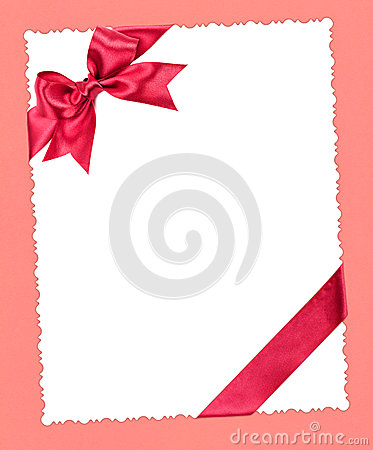 Blank paper with red bow on pink
