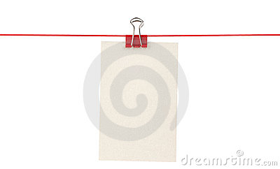 Blank paper sheet on a rope