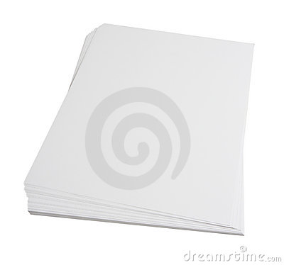 Blank paper stack
