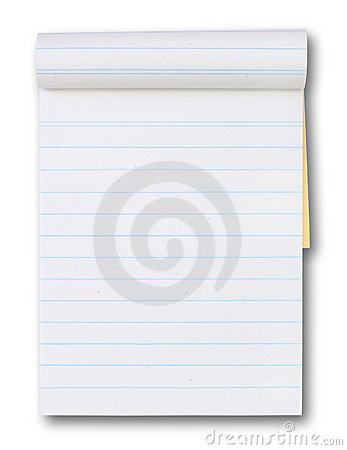 Blank Paper tablet with a blue lines