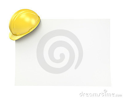 Blank paper with yellow helmet