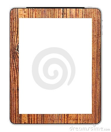 Blank PC tablet designed with wood mounting
