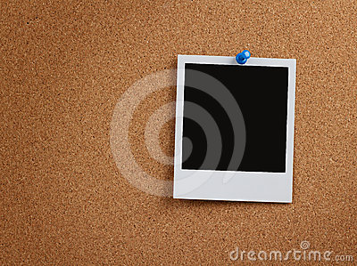 Blank photo at cork board with clipping path