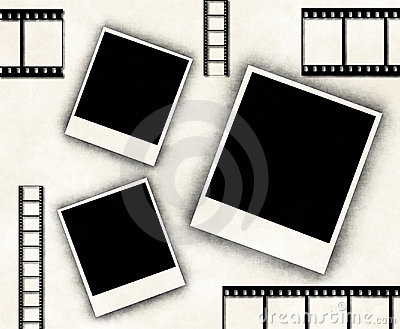 Blank photo frames and film strip