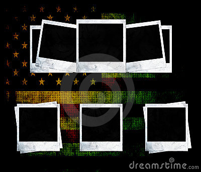 Blank photo frames on USA flag