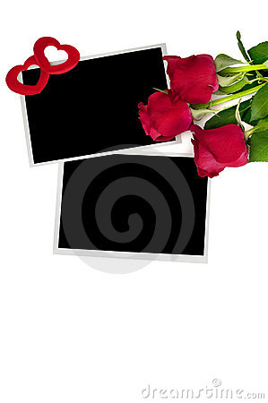 Blank photo prints and roses
