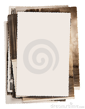 Blank photo on a stack of old photos