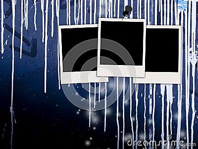 Blank Photos on Grungy Wall