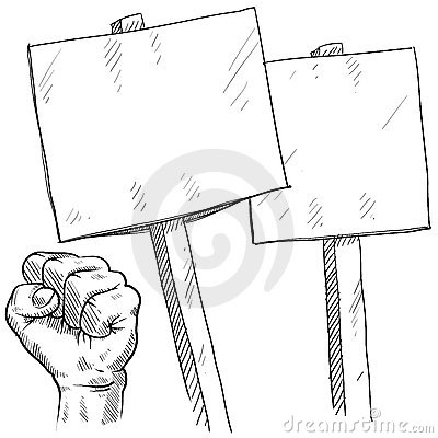 Blank picket or protest signs