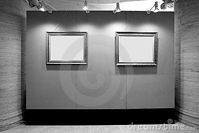 Blank picture frames in art gallery