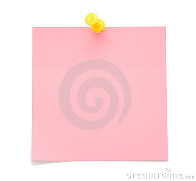 Blank pink post-it note