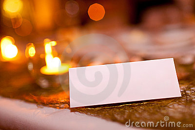 Blank place card at a wedding