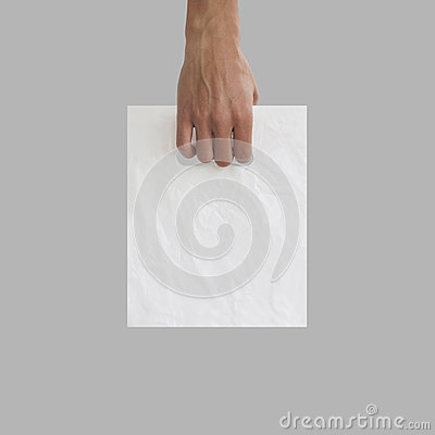 Free Blank Plastic Bag Mock Up Holding In Hand. Empty Polyethylene Pa Royalty Free Stock Photography - 76784007