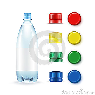 Free Blank Plastic Blue Water Bottle Multicolored Red Yellow Green Caps Royalty Free Stock Image - 74801246