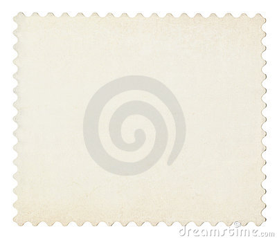 Blank post aged stamp isolated on white.