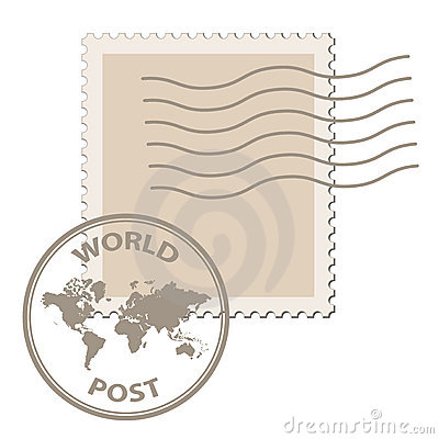Blank post stamp with world map postmark