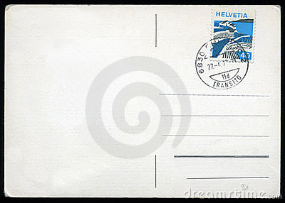 Blank postcard with stamp