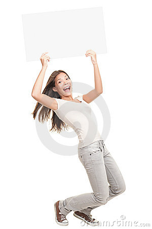 Blank poster sign woman excited