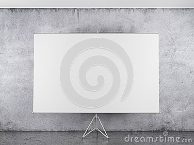 Blank projector canvas in the interior