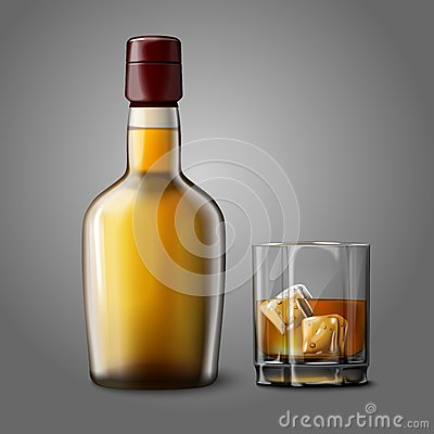 Free Blank Realistic Bottle With Glass Of Whiskey And Royalty Free Stock Image - 47486166