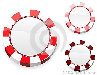 Blank red casino chips