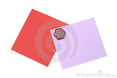 blank red and pink note with magnet