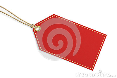 Blank red price tag