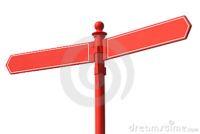 Blank red two way signpost.