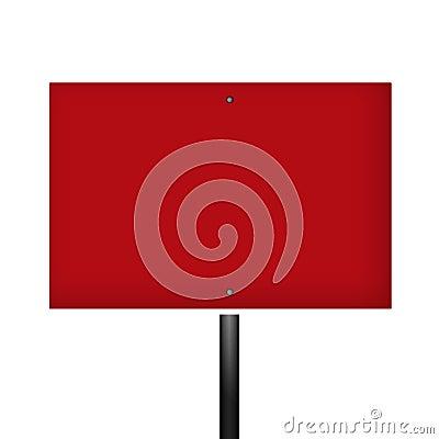 Blank Red White Warning Sign