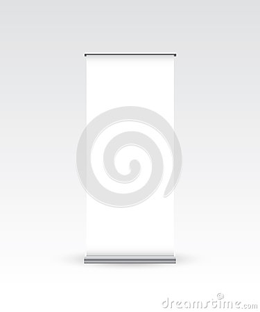 Blank roll up banner on white