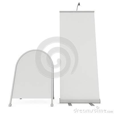 Free Blank Roll Up Expo Banner Stand Group Stock Image - 83125701