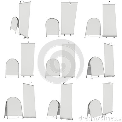 Free Blank Roll Up Expo Banner Stand Group Stock Photos - 83410673