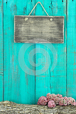 Blank Rustic Sign Hanging On Antique Teal Blue Wood Fence With Log And Pink Flower Border Stock Photo Image 45603259