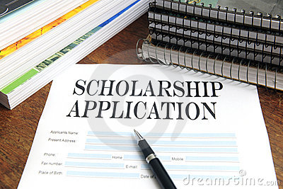 Blank scholarship application on desktop