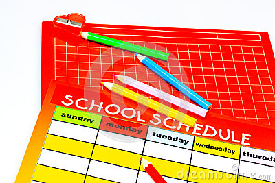 Blank school schedule. Back to school