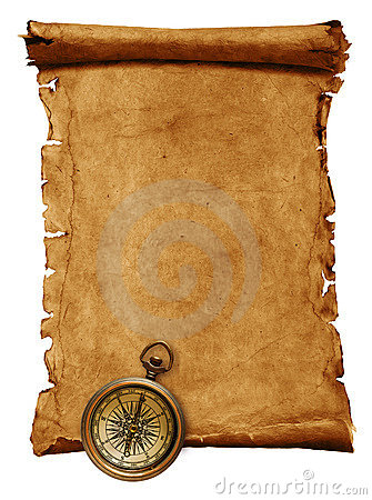 Vintage scroll with copy space and compass, isolated on white ...