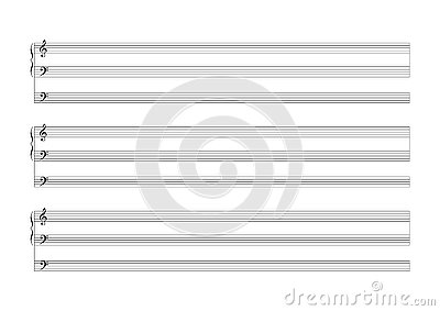 Blank Sheet Music Sheet for the notation of a voice or solo instruments Blank Sheet Music vector Vector Illustration