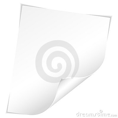 Blank Sheet of Paper with Curved Corner