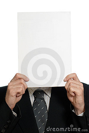 Blank sheet of paper over face