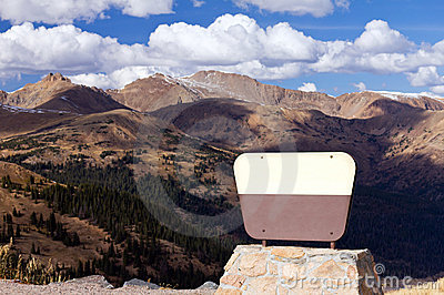 Blank Sign In Front Of Mountains