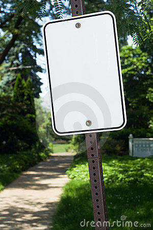 Blank sign at a park