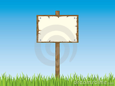 Blank sign post with grass